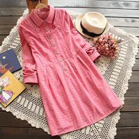 Spring Autumn Sweet Long Sleeve Dress double Layer Collar Cotton Loose Blouse Shirt Plus Size Shirt Dress