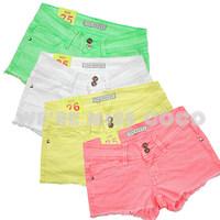 free shipping Miss coco2014 sexy slim all-match flash multicolour denim shorts