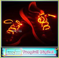 Free shipping LED Optical Fiber Flashing Shoelaces,Optical Fiber Glowing Light LED Shoelaces Glow Dark Shoelaces Wholesale