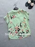 2014 new summer women silk organza collar short-sleeved plum