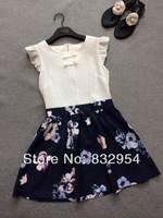 2014 new summer women embossed silk printed cotton stitching waist dress