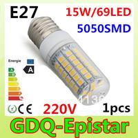 E27-15W-5730 SMD-69 LEDs 1pcs/lot New and hot selling 200-240V LED Corn Light Bulb Lamp Warm white /white