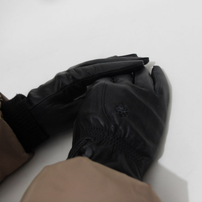 Genuine leather gloves female sheepskin elegant ladies silk double buckles small flower thermal gloves()