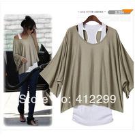 Euro Fashion Loose Casual Short Sleeve T-Shirts Women's Batwing Sleeve Tops ( Tank + T shirt) 4-18