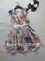 2014 new summer women silk organza roses waist dress