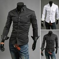 Free shipping men's long sleeve dress shirts fashion dot pocket botomming male shirts turn-down collar slim fit shirt man