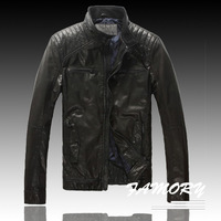 Prato 2014 male stand collar slim short design fashion motorcycle jacket genuine leather clothing outerwear  P10