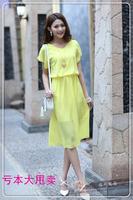2014 spring chiffon one-piece dress plus size clothing slim short-sleeve midguts basic one-piece dress