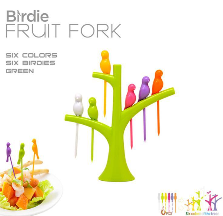 Free shipping 2014 New Arrival design plastic fruit trees + birds fork cutlery Set 6PCS(China (Mainland))