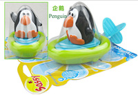 3 pcs/lot Sassy Pull & Go Boats baby/children bath toys wind-up swimming animal water toy - Penguin/Crocodile/Duck
