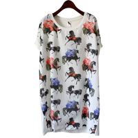 2 horse gauze patchwork T-shirt loose mm medium-long plus size short-sleeve t skirt