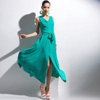 2014 spring fashion expansion bottom chiffon before the placketing belt long design full dress