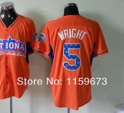 Hot Sale Men's 2013 All Star Game American Baseball Jersey #5 David Wright Orange Baseball Jersey All Stitched Sewn On(China (Mainland))