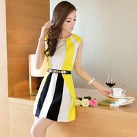 Slim hip 2014 summer women's slim one-piece dress patchwork color block sleeveless tank dress with belt