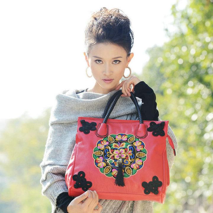 free shipping new 2014 women bag Hot fixed bag coneept PU embroidered handmade bag fashion one shoulder handbag messenger bag 4(China (Mainland))
