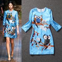 2014 women's fashion owl print three quarter sleeve slim one-piece dress