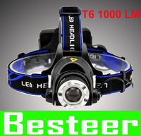 Free Shipping 1200Lm CREE XM-L XML T6 LED Headlamp Rechargeable Headlight fishing camp 3 Mode Waterproof Zoom Focus Front Light