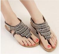 2014 bohemian lady beading  sandal casual punk  flat heel flip flops women summer shoe Free shipping