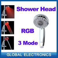 Adjustable 3 Mode LED Shower Head Sprinkler Temperature Sensor RGB Color Freeshipping