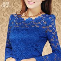 Free Shipping Sweet Women Big size long-sleeve 2015 Long sleeve Lace Blouses,Cutout flowers Lace Shirts  XL 2XL 3XL 4XL 5XL 6XL