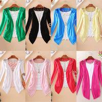 Hot Sale 2014 New Fashion Women Sweater Cardigan Sale Sweet Candy Pure Color Slim Crochet Knit Lace Blouse 9 Colors