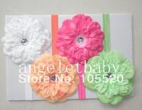 26pcs  Baby DIY  Peony flower Glued to Iridescent Elastic headbands  soft Hair bands SG8506