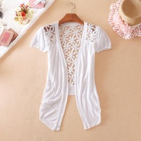 New 2014 Hot Sell Fashion Sale Women Lace Sweet Candy Pure Color Slim Crochet Knit Short sleeve Blouse Sweater Cardigan