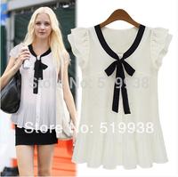 2014 New Fashion OL Butterfly Sleeve White Blouse Womens Bow Chiffon Shirt  Plus Size S-XXXL