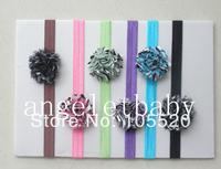 24pcs  Baby DIY  Zebra Satin Mesh chiffon flower Glued to Iridescent Elastic headbands  soft Hair bands SG8507