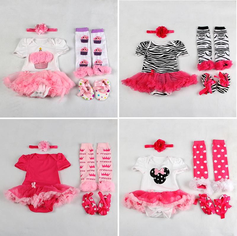 Livraison gratuite nouveaux né de bébé bambin enfants fille enfants headband+bodysuit+leg chauffe leggings+shoes tenue des vêtements