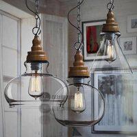 Lamp vintage fashion american rustic wood grain crystal pendant light
