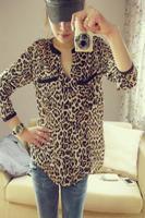Free Shipping Hot Sale 2014 New Fashion Women Leopard Print Star Print long-sleeve Chiffon Blouse PLUS SIZE S-L