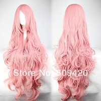 Free Shipping>>> Cheap 90cm Long Vocaloid- Luka Pink Wavy Anime Cosplay wig