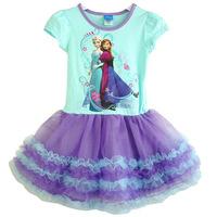 2014 brand New Girl Frozen Dress Anna Elsa dress kid cartoon summer dress girl's princess dress children clothing