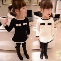 Children's clothing black-and-white 2014 ladies female child long-sleeve skirt small plaid princess dress