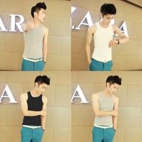 2014 summer male slim tight vest undershirt vest male small vest 100% cotton shirt male