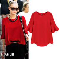 2014 spring fashion women's 3/4 Puff sleeve loose chiffon shirt shirt female basic top Blouses