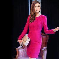 New 2015 Fashion Women Casual Dress Autumn Dress For Summer Wear Long sleeve O-neck Novelty Dresses High Street
