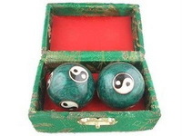 Details about  Chinese Cloisonne Health Exercise Stress Baoding Balls Ying Yang Blue Color