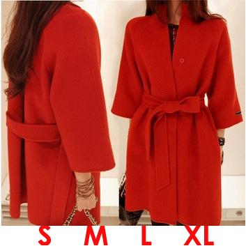 Hot Sale! 2015 New Fashion Wool Coat Women Autumn Winter Jacket Stand Collar Cloak Trench Female Slim Woollen Overcoat With Belt(China (Mainland))
