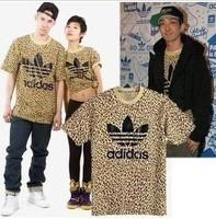 Summer 2014 Brand Cotton male leopard print pattern fitness sprot man t-shirts t shirt men tshirt camisas o neck short sleeve