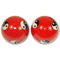 Details about  Chinese Cloisonne Health Exercise Stress Baoding Balls Ying Yang Red Color
