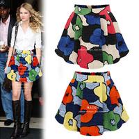 New Fashion Summer Women's Skirts Print Chiffon High waist Skirt Sheds Female Bust Skirts