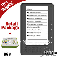 With Retail Package,7 inch Ebook Reader 8GB 720P video PDF Reader Electronic book C Paper Screen E-book 8GB E Reader