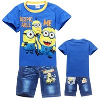 New 2014 Summer Despicable me O-Neck Cartoon,Print Fashion 2pcs Clothing Set,Boys Clothes,Kid Outfits,Children Jeans Suits 5474