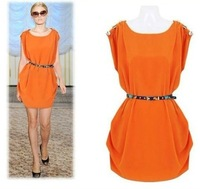 2014 New 3 Colors Women Summer Dresses Casual Clothes Sleeveless Tank Chiffon Dress Vestidos with Belt M-XL A1001