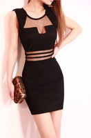 Holiday Sale New 2014 Women Summer Sexy Black Stripes Transparent Lace Dress Casual Dresses 1353