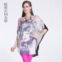 2014 Summer New Women's Large Size T-shirt Korean Fashion Short-sleeved  Free Shipping