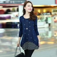 2014 New Arrival Women's Spring Outerwear Sweater Embroidered Dot Chiffon Dress Low Collar Twinset Sweater Dress Shirt