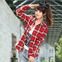 2014 Smart-casual Dress Shirts Autumn Winter Preppy Style Girls 100%Cotton Plaid Sanded Long-sleeve Shirt Thickening Slim Shirt